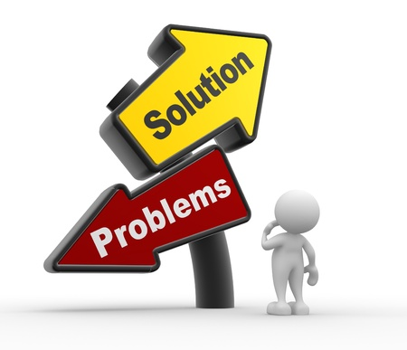solutions: 3d people - man, person with signpost with two directions with the text solutions and problems Stock Photo