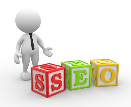3d people - man, person with a cubes and word seo. Search Engine Optimization. photo