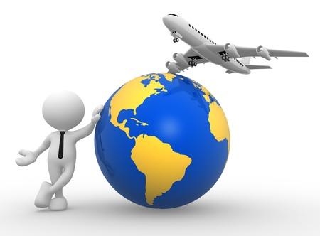 3d Menschen - ein Mann, Person mit einem Flugzeug und Erde Globus. Konzept der Reise.