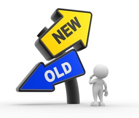 3d Menschen - ein Mann, Mensch und ein Schild mit zwei Richtungen mit dem Text alte und neue