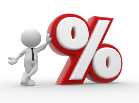offer icon: 3d people - man, person with percent sign . %. Concept of discount.