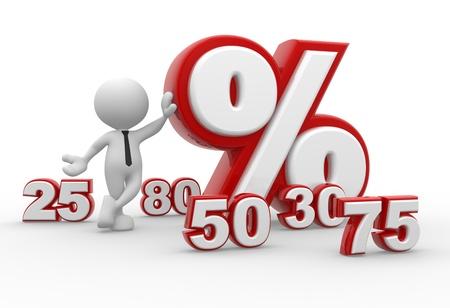 3d Menschen - ein Mann, Person mit Prozent-Zeichen. %. Konzept der Rabatt.