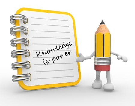 knowlage: 3d Knowledge is power. Notebook and a pencil. Education concept. 3d render Stock Photo