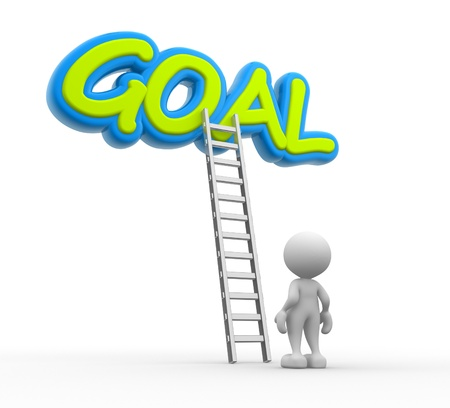 3d people - man, person with a ladder and word GOAL Stock Photo - 17361424