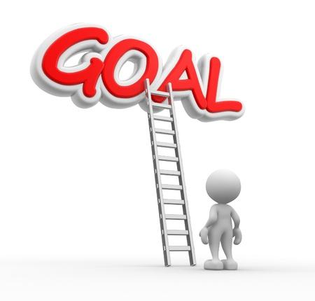 aspirations ideas: 3d gente - hombre, persona con una escalera y meta de la palabra