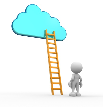 3d people - man, person with a ladder skyward.  Ladder of success photo
