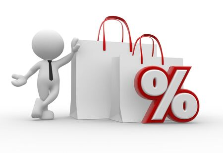 cost reduction: 3d people - man, person with a shopping bag and percent sign Stock Photo