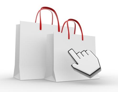 3d Einkaufstasche mit dem Hand-Cursor. 3d render Standard-Bild - 17361427