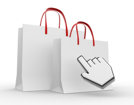 3d shopping bag with the hand cursor. 3d render photo