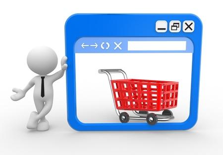 3d Menschen - ein Mann, Personen mit einem Browser-Fenster und einem Warenkorb. Online Standard-Bild