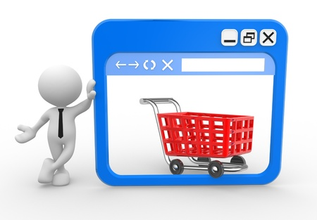 3d people - man, people with a browser window and a shopping cart. Online