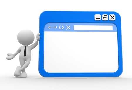 3d people - man, people with a browser window.