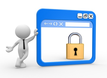 3d people - man, people with a browser window and a lock. Security concept. photo