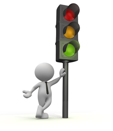 light signal: 3d people - man, people with a traffic light. Semaphore