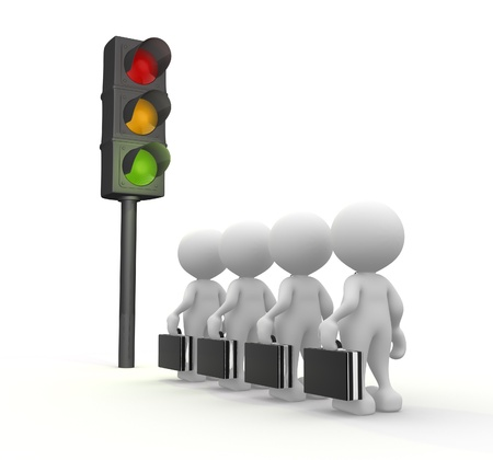 traffic control: 3d people - man, people with a traffic light. Semaphore