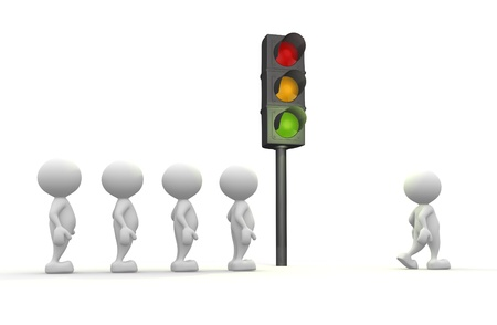 3d people - man, people with a traffic light. Semaphore Stock Photo - 17379954