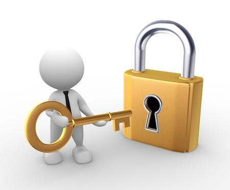 3d mensen - man, persoon opent een slot met een sleutel.