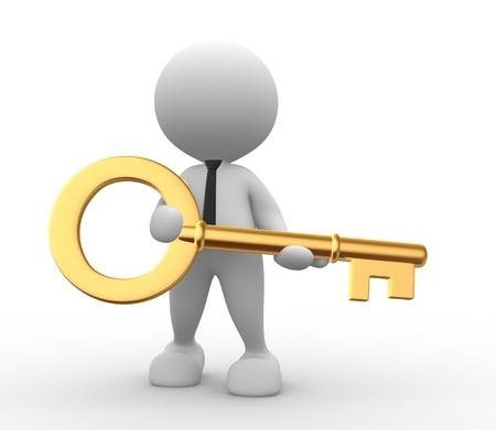 3d Menschen - ein Mann, Person mit einem goldenen Schlüssel. Standard-Bild