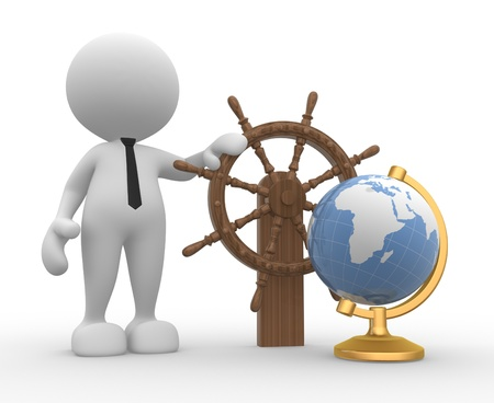 3d people - man, person with a ship steering wheel and earth globe photo