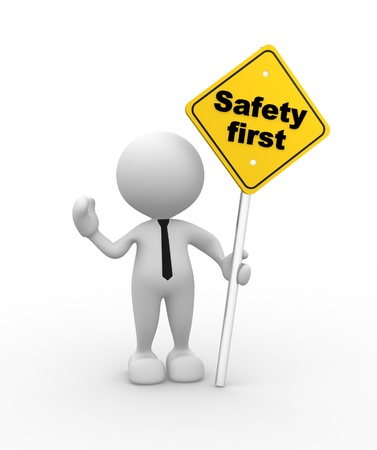 safety at work: 3d people - man, person with a safety first sign in hand