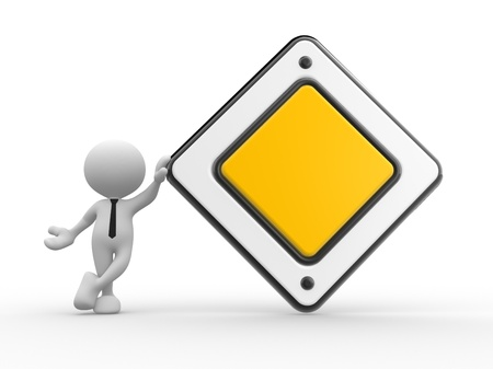 3d people - man, person with a empty warning priority sign. Stock Photo - 17433557