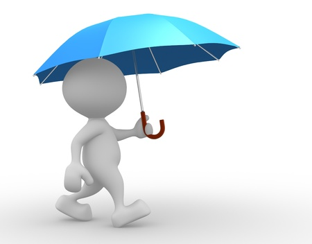3d people - man, person with a opened blue umbrella. Stock Photo