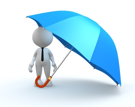 3d people - man, person with a blue umbrella. photo