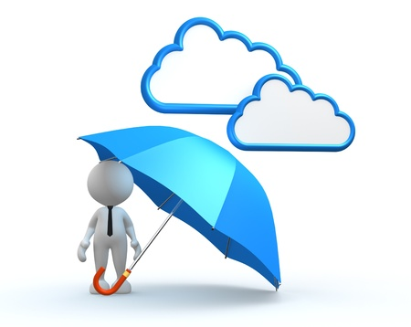 3d Menschen - ein Mann, Person mit einem blauen Regenschirm. Standard-Bild