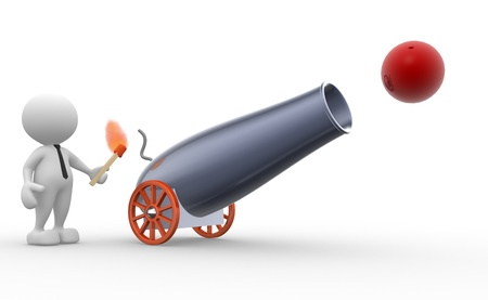 cannonball: 3d people - man, person with a cannon. Gunner  Stock Photo