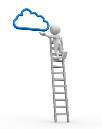 aspiration: 3d people - man, person with a ladder and cloud. Aspiration Stock Photo