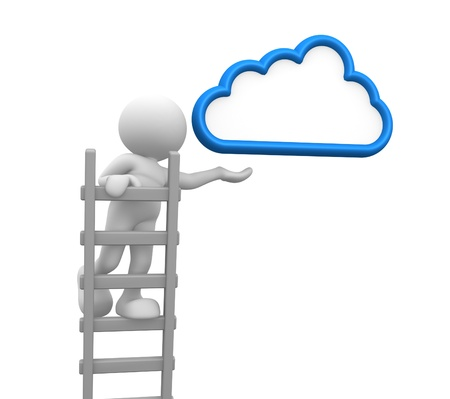 3d people - man, person with a ladder and cloud. Aspiration photo