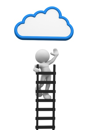 conclusion: 3d people - man, person with a ladder and cloud. Aspiration Stock Photo