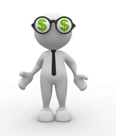 3d Menschen - ein Mann, Person mit einer Brille und einem Dollarzeichen.