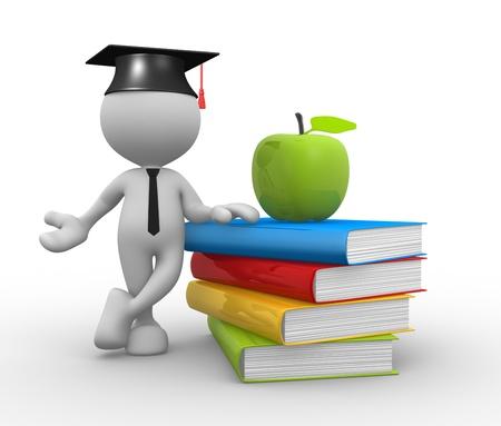 3D-Menschen - ein Mann, Person mit Haufen Bücher und ein Apfel. Graduation Cap.