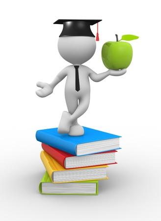 3d Menschen - ein Mann, Person mit Stapel Bücher und einen Apfel.