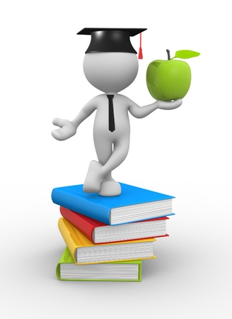 3d people - man, person with pile of books and an apple.   Stock Photo