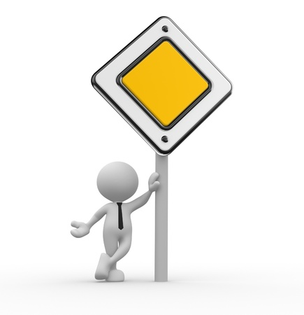 main street: 3d people - man, person with a priority road sign