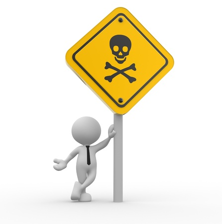 3d people - man, person with a danger skull sign. Stock Photo - 17433738
