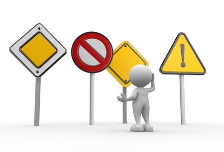 banned: 3d people - man, person with  different road signs.