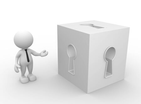 keyhole: 3d people - man, person with a cube and keyhole.
