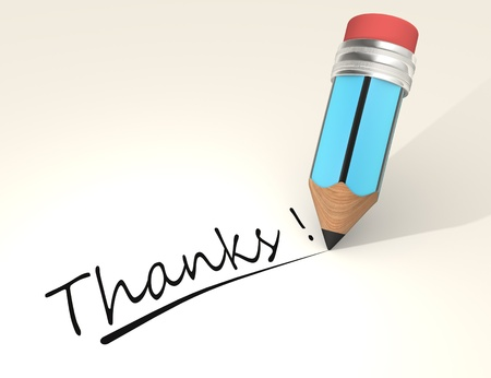 many thanks:  3d a pencil and text Thanks! Stock Photo