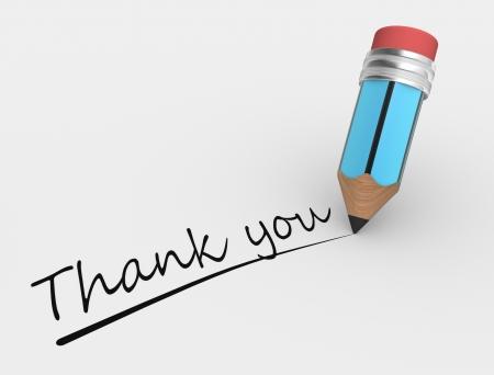 merci: 3d un crayon et du texte Merci