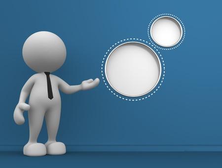 3d mensen - man, persoon met lege bubbels.