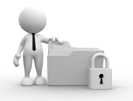 data sheet: 3d people - man, person with a folder and a lock. Stock Photo