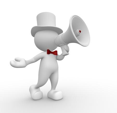 3d personnes - homme, personne avec un mégaphone