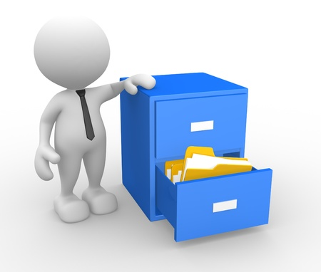 3d people - man, person and open drawer with folders.  Stock Photo - 17532525