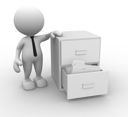 drawer: 3d people - man, person and open drawer with white folders.