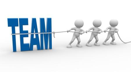 3d Menschen - ein Mann, Person mit Seil ziehen und Wort Team Standard-Bild