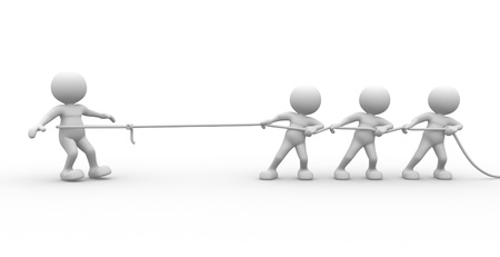 3d people - man, person with rope pulling. Three against one.