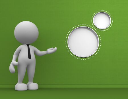 3d people - man, person with a blank circle. Message Stock Photo - 17532575